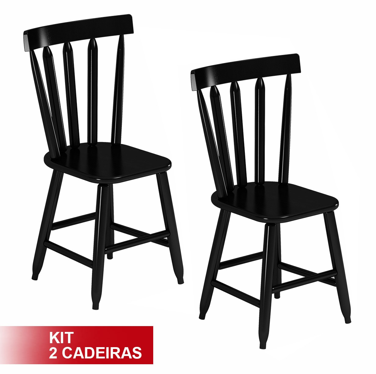 Cadeira Country Em Madeira Maciça Encosto Alto Kit 2 Cadeiras Preta  #AA0000 1232x1226