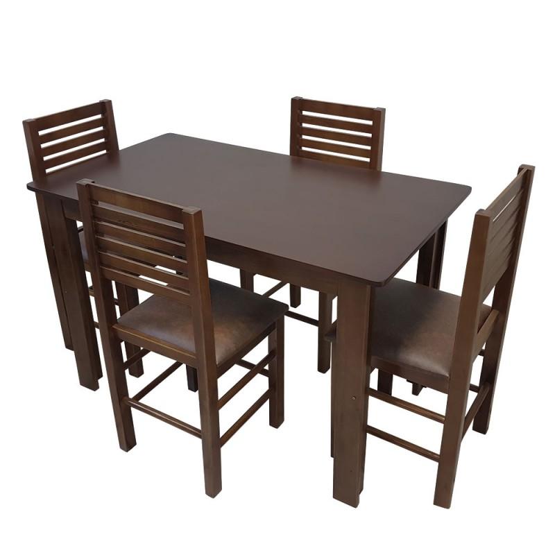 Conjunto Laguna De Madeira Mesa 120 x 70 Com 4 Cadeiras Flex Mesas e  Cadeiras Flex Mesas e Cadeiras