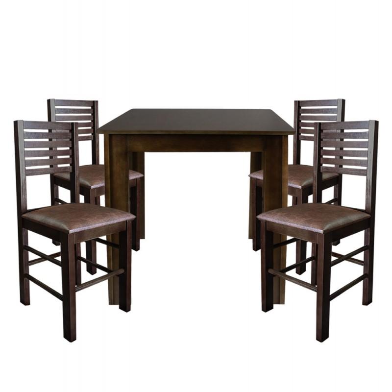 5489292e1 Conjunto Laguna De Madeira Mesa 80x80 Com 4 Cadeiras Imbuia Estofado ...