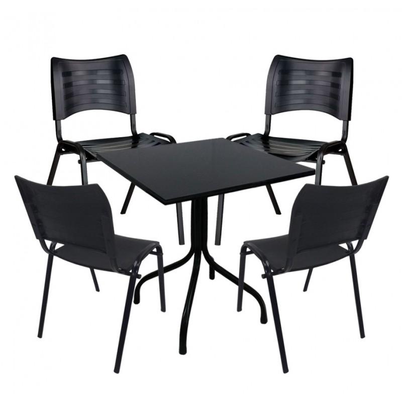 8216cec56 Conjunto de Mesa Fixa 70x70 cm Preta Com 4 Cadeiras Empilháveis ...