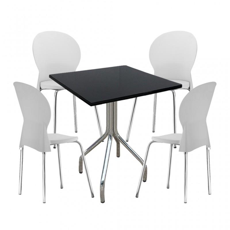 001f72c68 Conjunto Mesa Fixa e 4 Cadeiras Luna Plasticas Polipropileno Pés ...